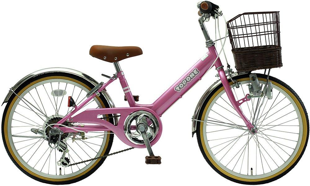 TOPONE 子供用自転車 20インチ 前カゴ付 シマノ6段変速ギア ステンレス泥除け シティサイクル キッズサイクル 男の子 女の子 NV206-PI ピンク pink B018LVAKTA