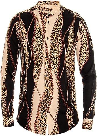 Giosal Camisa de Hombre Viscosa Fantasía Impresión Decoración Negra y Beige Cuello Coreano Casual M: Amazon.es: Ropa y accesorios