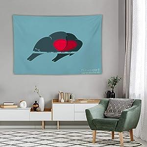 Tapestry Wall Decor Bullfinch Birds Heart Love Couple Tapestry For Bedroom Dorm Bathroom Home Hanging Blanket Line Art Living Room Decoration 60''×80''
