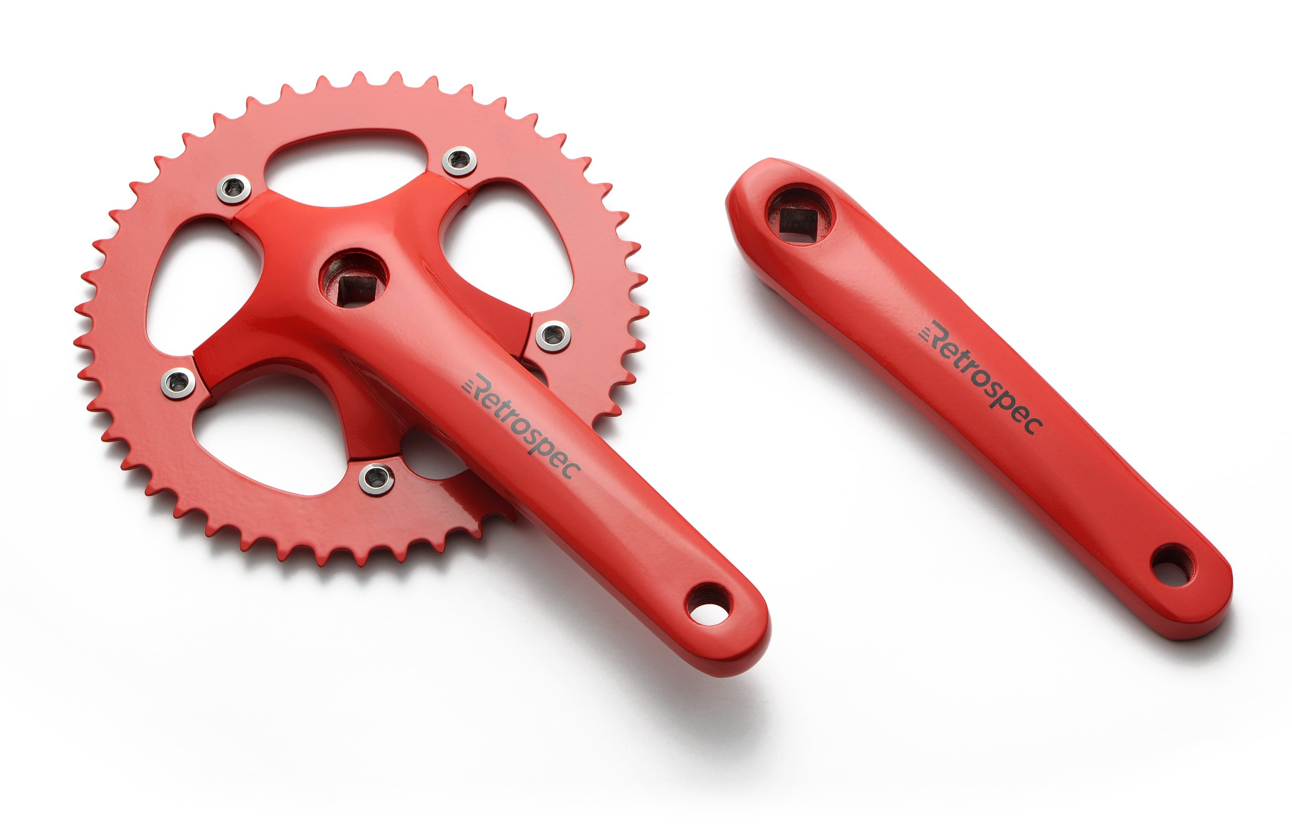 Retrospec Bicycles Fixed-Gear Crank Single-Speed Road Bicycle Forged Crankset, Red, 46T by Retrospec