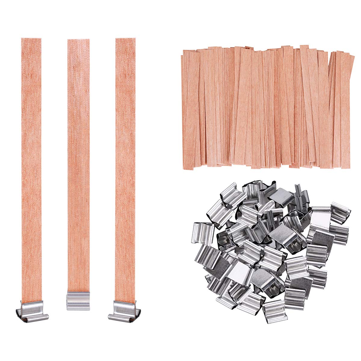 YoungRich 100PCS Wood Candle Wick with Metal Fixing Base DIY Material Easy Use Smokeless Eco-Friendly Premium for Candle Making Romantic Ambiance Dating Wedding Birthday 0.8x9cm Natural