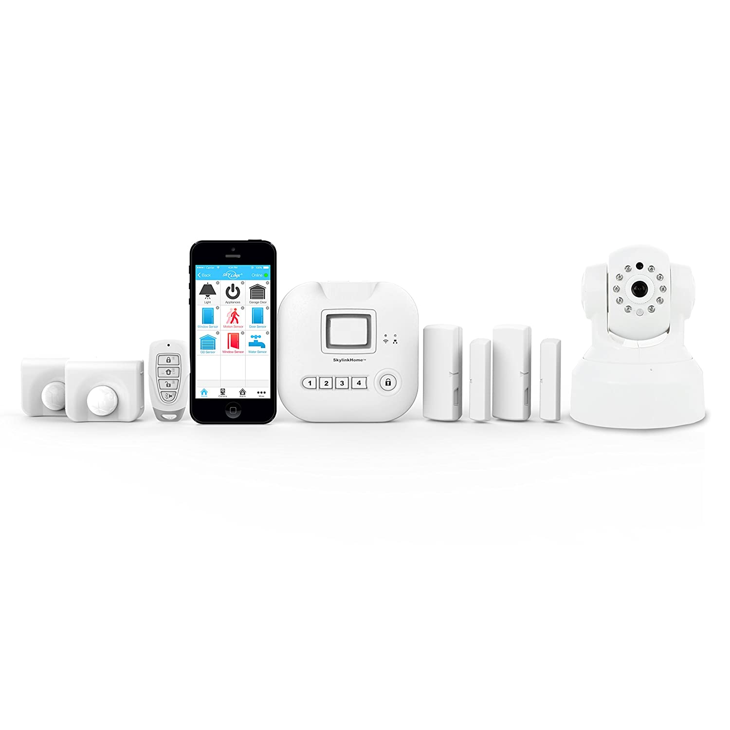 Skylink SK-250 Alarm Camera Deluxe Connected Wireless Security Home Automation System, Ios Iphone Android Smartphone, Echo Alexa and Ifttt Compatible with No Monthly Fees. White