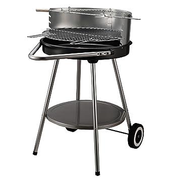 HOMCOM BBQ Barbacoa 2 Rejillas Redondas de carbón Mueble Cocina de jardín Acero + cerámica Lacado