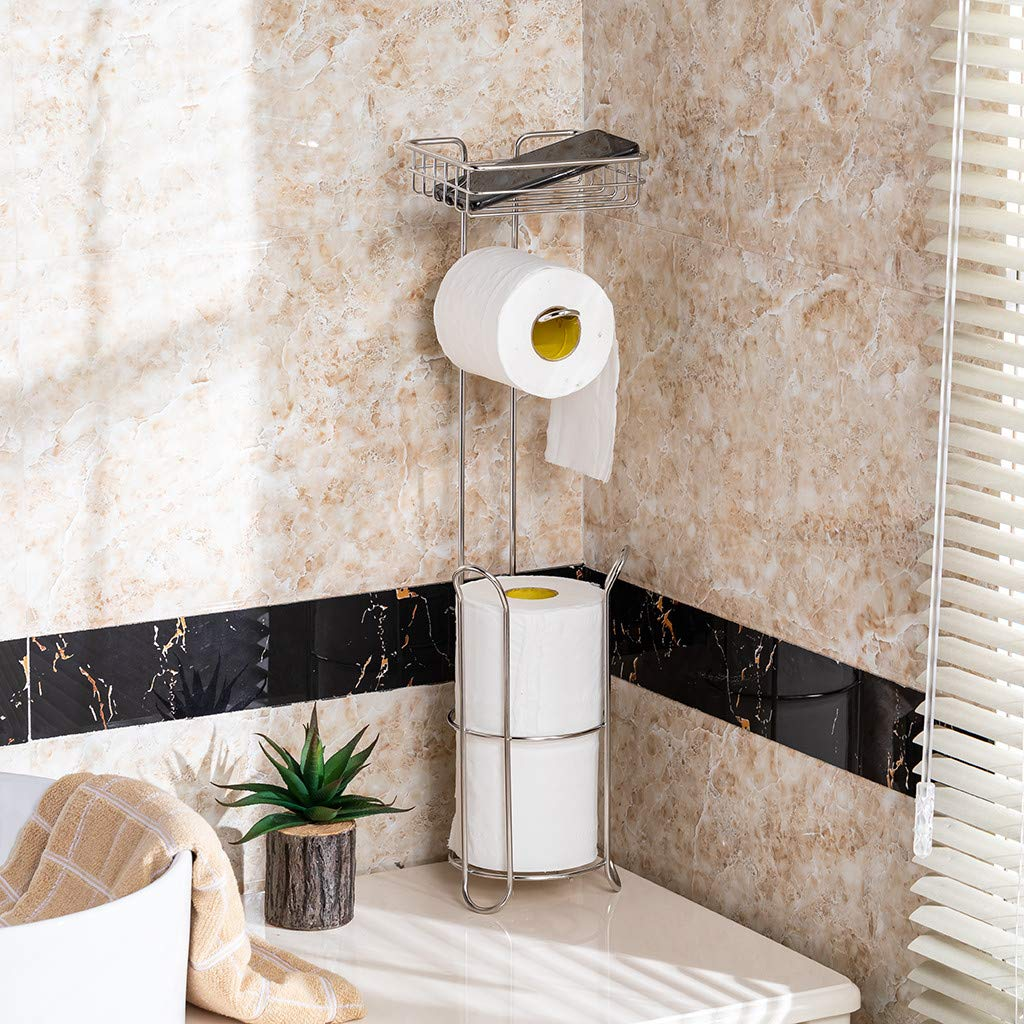 Dowager Freestanding Metal Wire Toilet Paper Roll Holder Stand and Dispenser with Storage Shelf for Cell, Mobile Phone - Bathroom Storage Organization by Dowager_Home Storage