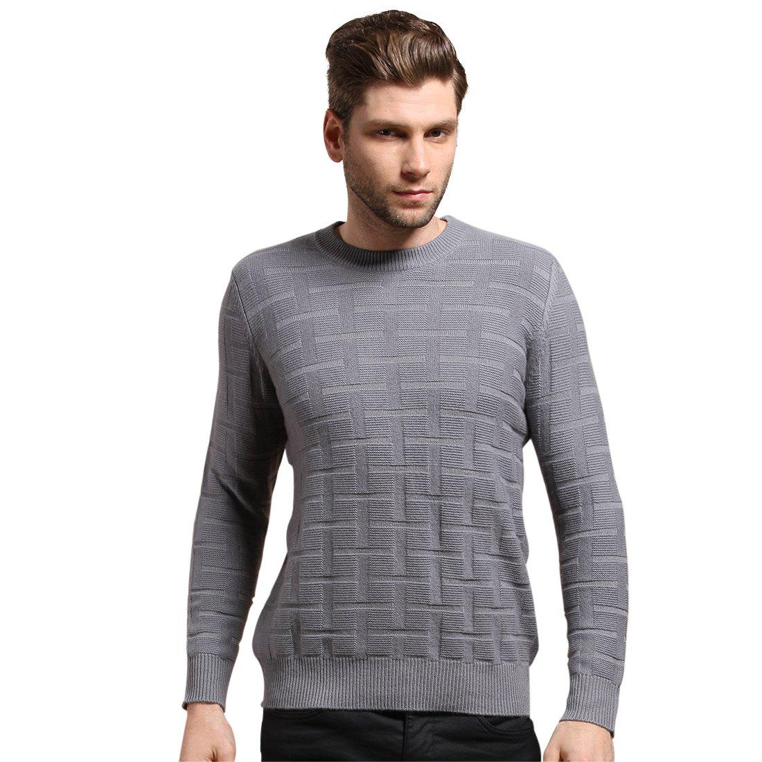 SpringAir Men's 100% Cashmere Sweater Square Long Sleeve Crewneck Pullover