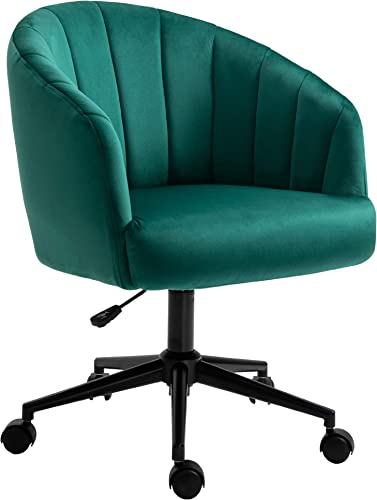 HOMCOM Retro Mid-Back Swivel Fabric Computer Desk Chair Height Adjustable