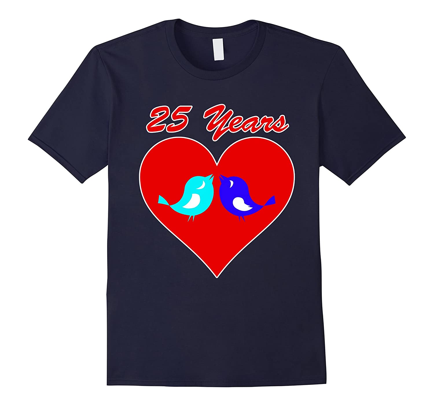 25th Wedding Anniversary T-Shirt Love Birds Celebrate Heart-BN