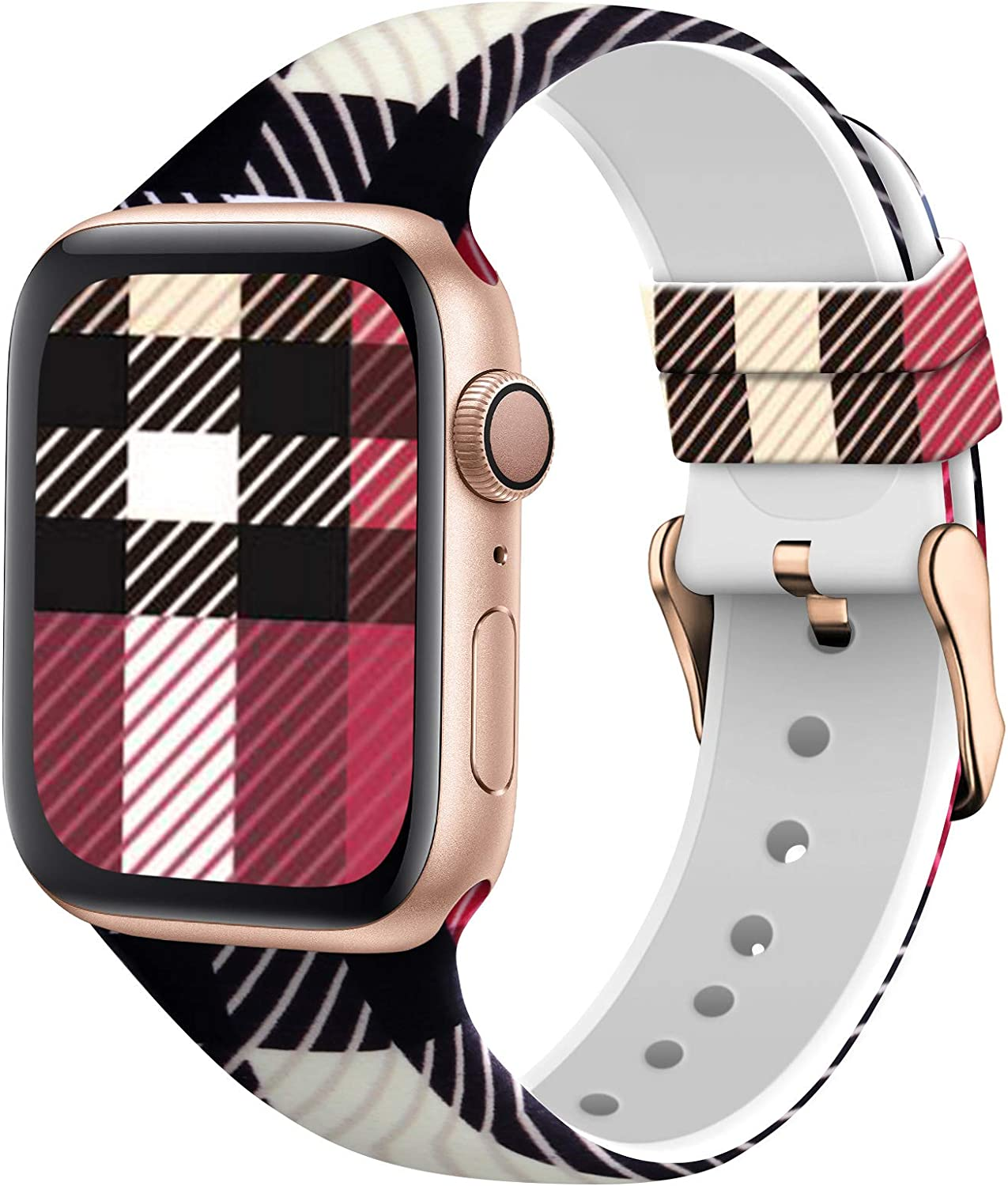 TSAAGAN Silicone Pattern Printed Band Compatible for Apple Watch Band 38mm 42mm 40mm 44mm, Floral Soft Sport Replacement Strap Wristband for iWatch Series 6/5/4/3/2/1 (Lattice, 38mm/40mm)