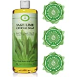 Sage Lime Castile Soap Liquid - 32 oz - Carolina Castile - Sage Body Wash & Sage Shampoo - Made With Organic Olive & Coconut