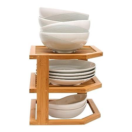 Taylor \u0026 Brown® Bamboo 3 Tier Corner Shelf Unit Kitchen Plates Rack Tidy Cupboard Organiser  sc 1 st  Amazon UK & Taylor \u0026 Brown® Bamboo 3 Tier Corner Shelf Unit Kitchen Plates Rack ...