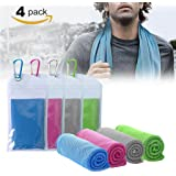 """KUEN 4 Pack Cooling Towel (40""""x12""""), Ice Towel, Soft Breathable Chilly Towel, Microfiber Towel for Yoga, Sport, Running, Gym, Workout,Camping, Fitness, Workout & More Activities"""