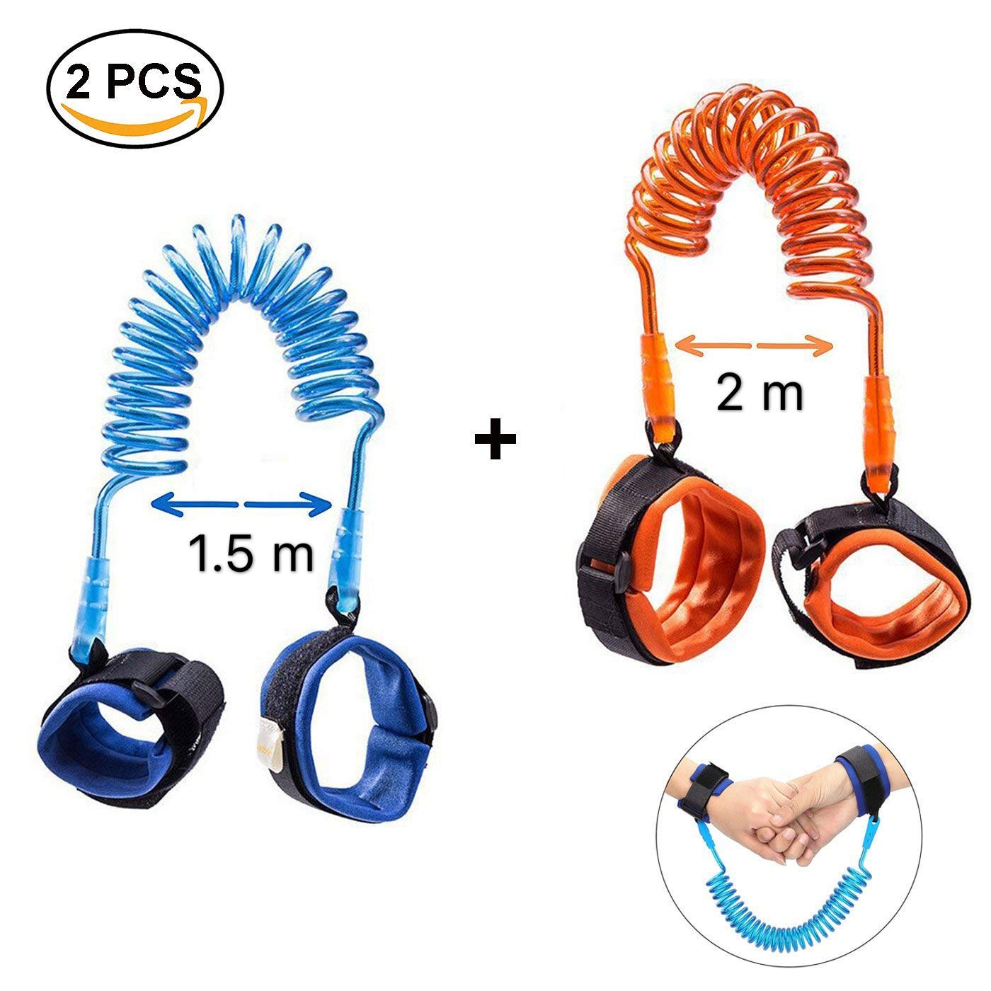 EEM 2 Pack Elastic Toddler Arnés Walking Leash - Child Anti Lost Enlace de muñeca - Arnés de seguridad para niños - 2M Orange + 1.5M Blue- Seguridad para niños Correa de muñeca - Baby Safety Wristband East Eagle Technology