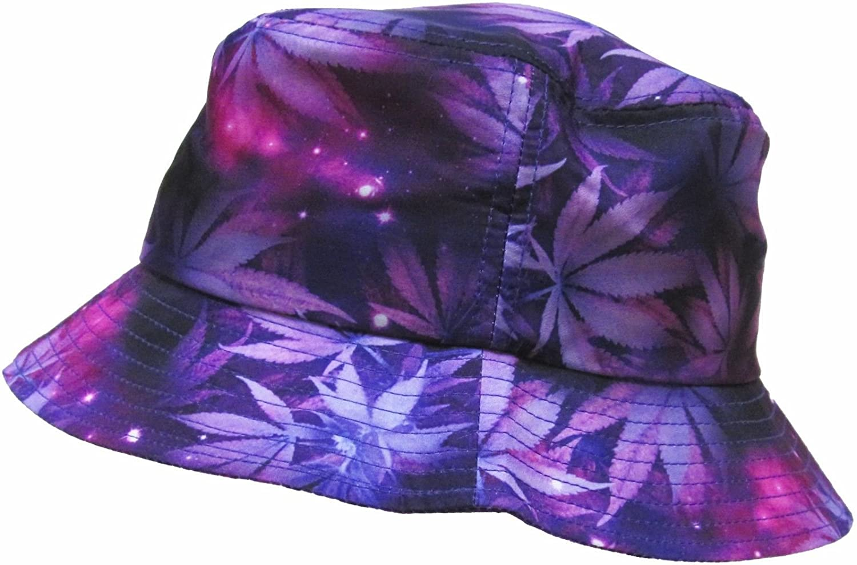 dba9196e3cf Purple Weed Leaf Marijuana Galaxy Print Bucket Hat at Amazon Men s Clothing  store