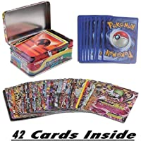 DOYENPokemon 42 Cards in 1, Sun and Moon Ultra Prism Card Game with Metal Box
