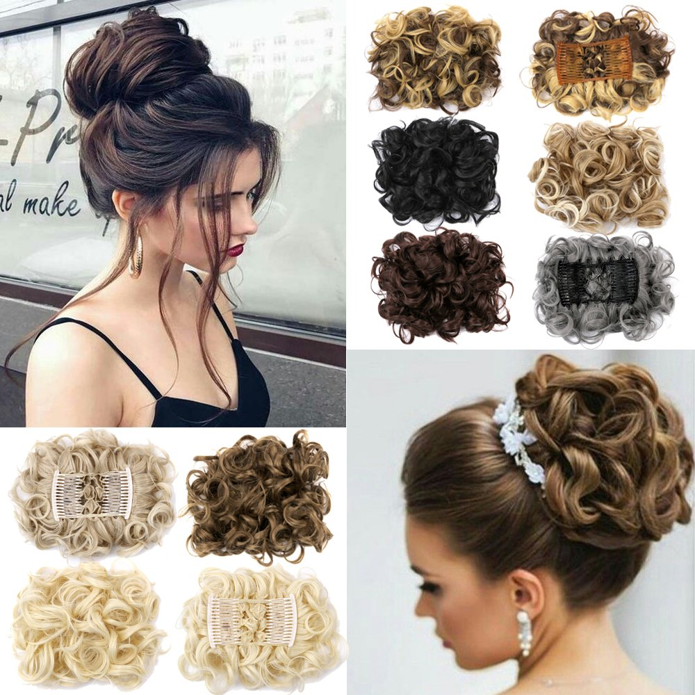 Lelinta Hair Bun Extensions Donut Hair Chignons Wig Scrunchy Scrunchie Updo Hairpiece T215-USA-CH