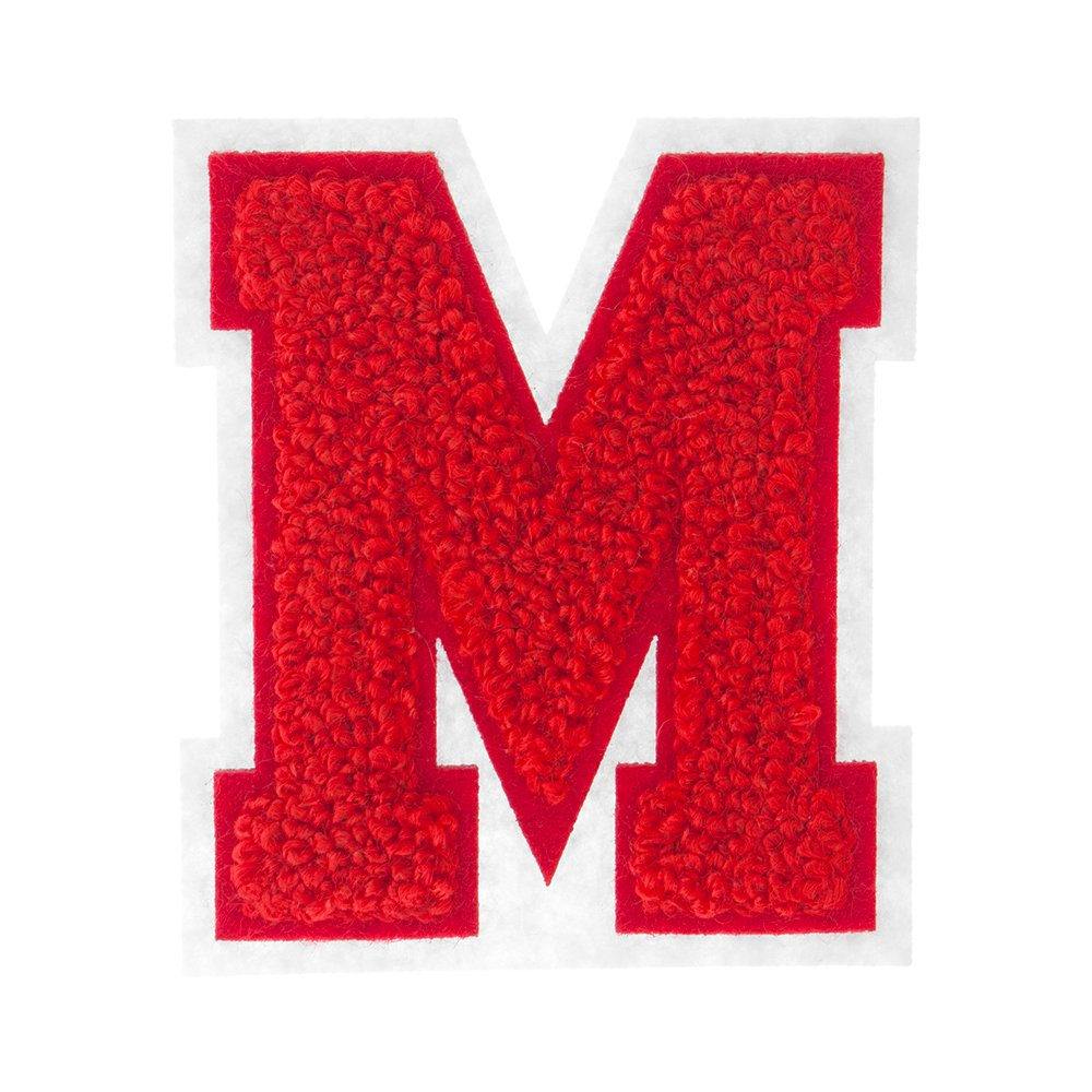 C 2.5 Inch Heat Seal Chenille Varsity Letter Red on White