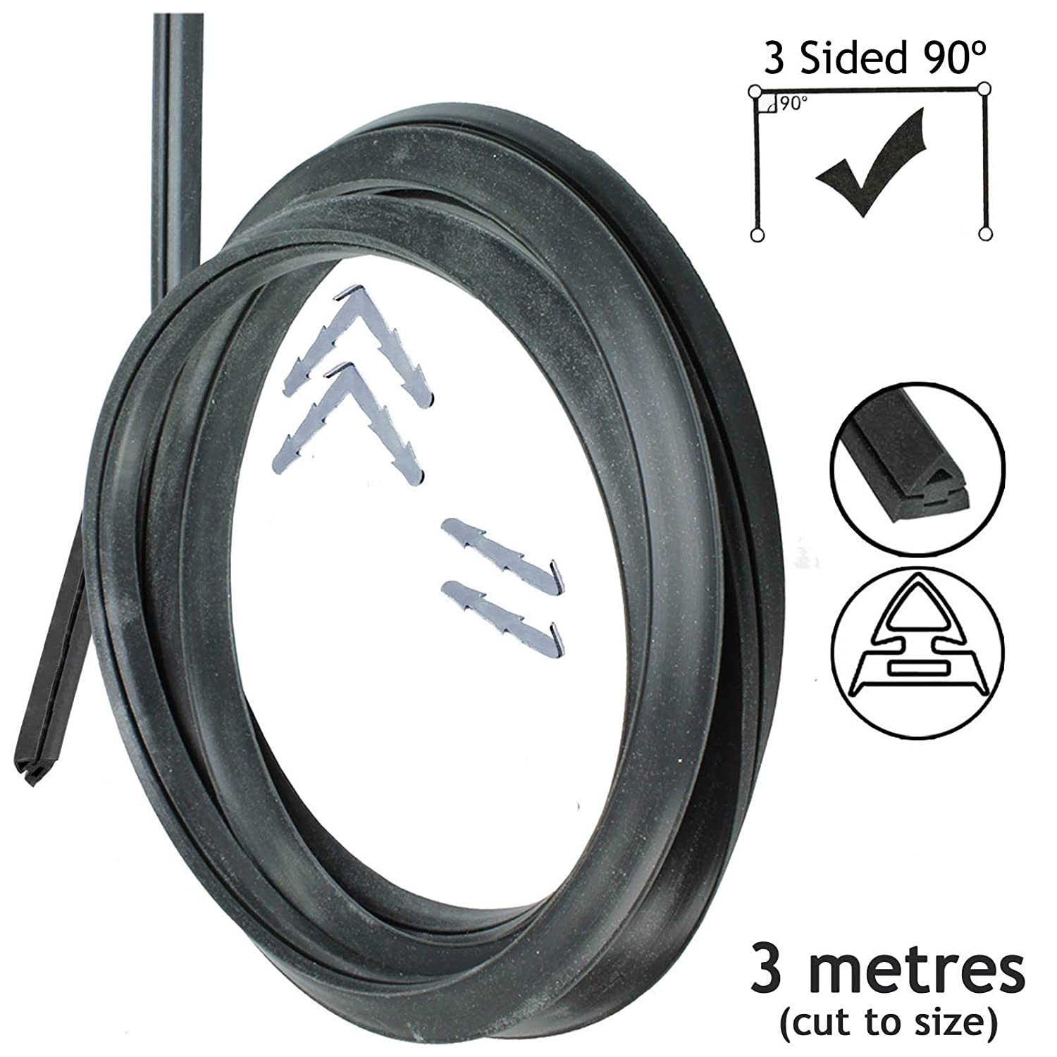 Spares2go Universal 3m Cut to Size Oven Cooker Door Seal 3 Sided (90 Clips)
