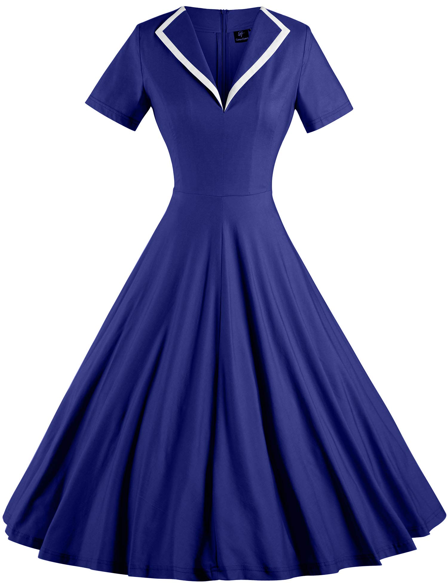2515d4eea6 GownTown Women's 1950s Retro Vintage V-Neck Party Swing Dresses Blue