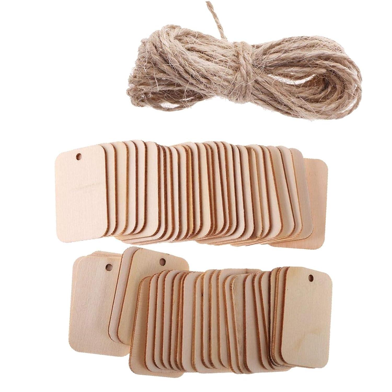 DULALA Étiquette 50Pcs Embellissement d'étiquette en Forme de Forme de Rectangle en Bois pour l'artisanat avec Corde