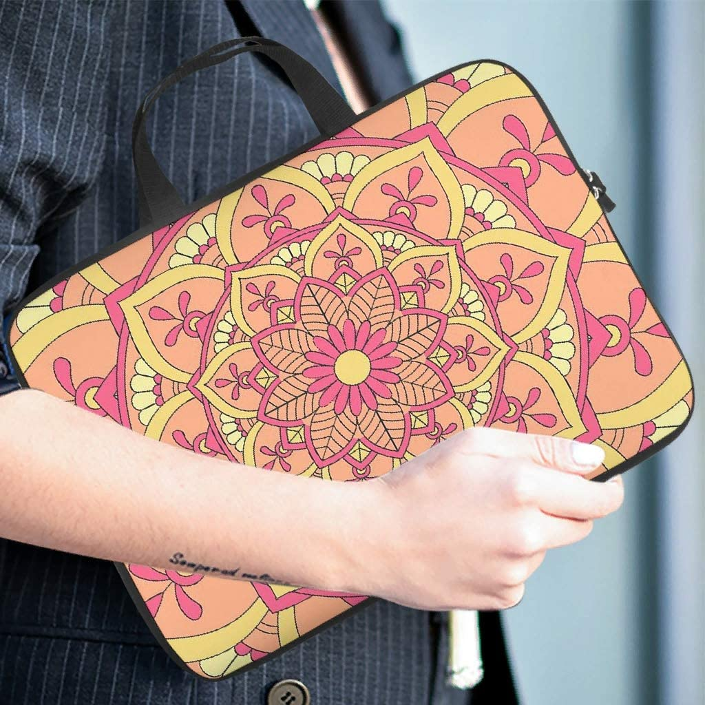 Cute Laptop Bag Ethnic Style Mandala Orange Double-Sided Printed Laptop Handbag Soft Neoprene Fabric Laptop Computer Protective Bag for College Students White 13inch