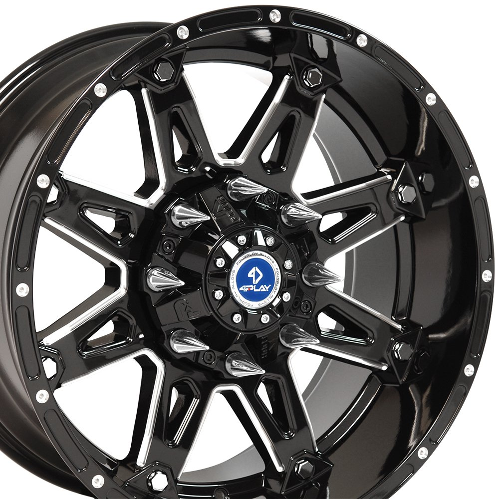 20x10 Wheel Fits 8 Lug GM Trucks & SUVs - Black Rim w/Mach'd Face - Sinister 4Play Wheel
