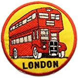 Ecusson - biplan Bus London - rouge - Ø6,9cm - patches brode appliques embroidery thermocollant