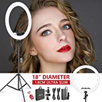 Neewer Upgraded Ring Light Kit-[1.8cm Ultra Slim] 18 inches 3200-5600K Dimmable LED Ring Light with Light Stand, Phone Clip, Hot Shoe Adapter for Portrait Makeup YouTube Video Shooting(White)