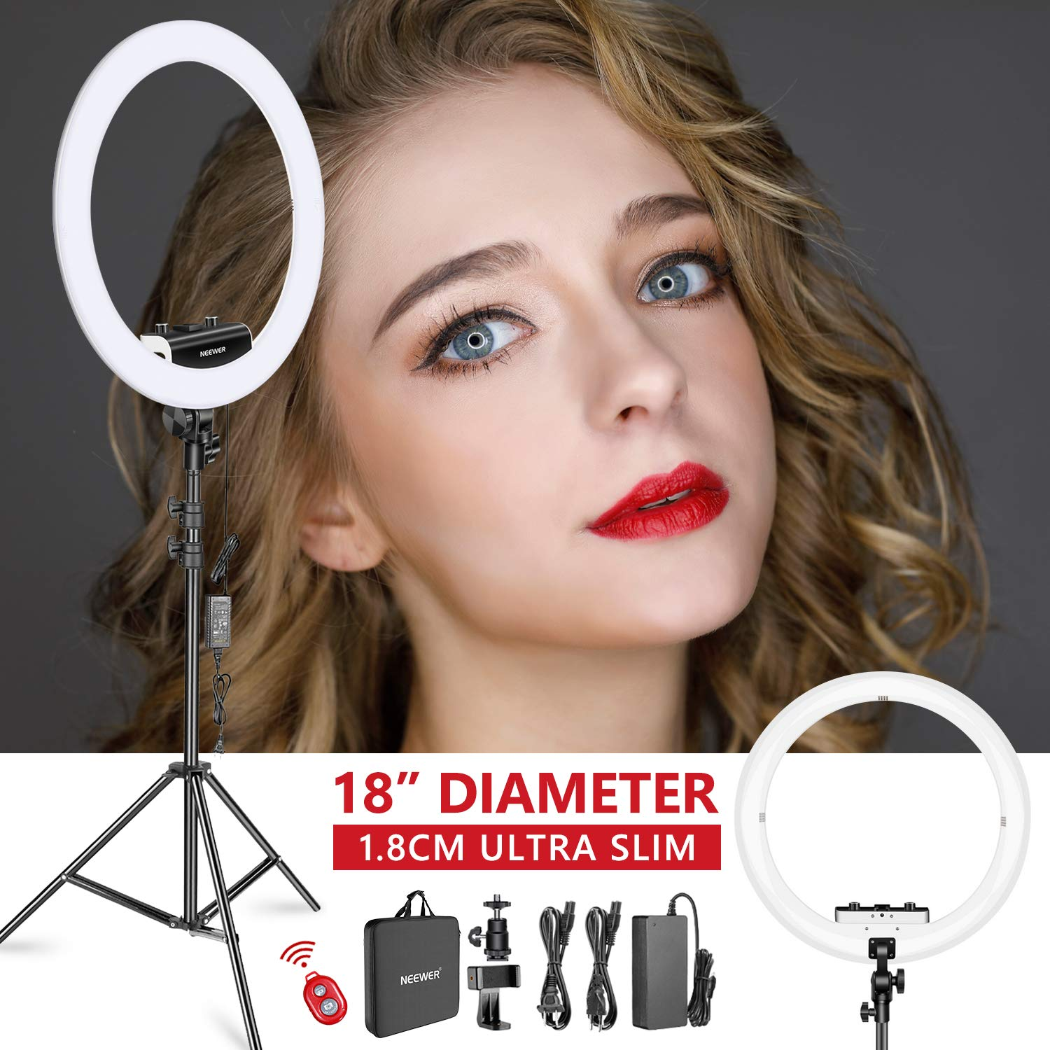 Neewer Ring Light Kit [Upgraded Version-1.8cm Ultra Slim] - 18 inches, 3200-5600K, Dimmable LED Ring Light with Light Stand, Rotatable Phone Holder, Hot Shoe Adapter for Portrait Makeup Video Shooting by Neewer (Image #1)