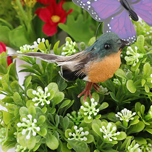 Nuxn 12pcs Robin Bird Figures Artificial Feather Robin Birds Decoration Christmas Tree Ornaments Mini Cute Birds with Flexible Wire Paws for Crafts Fairy Garden Tree Decoration