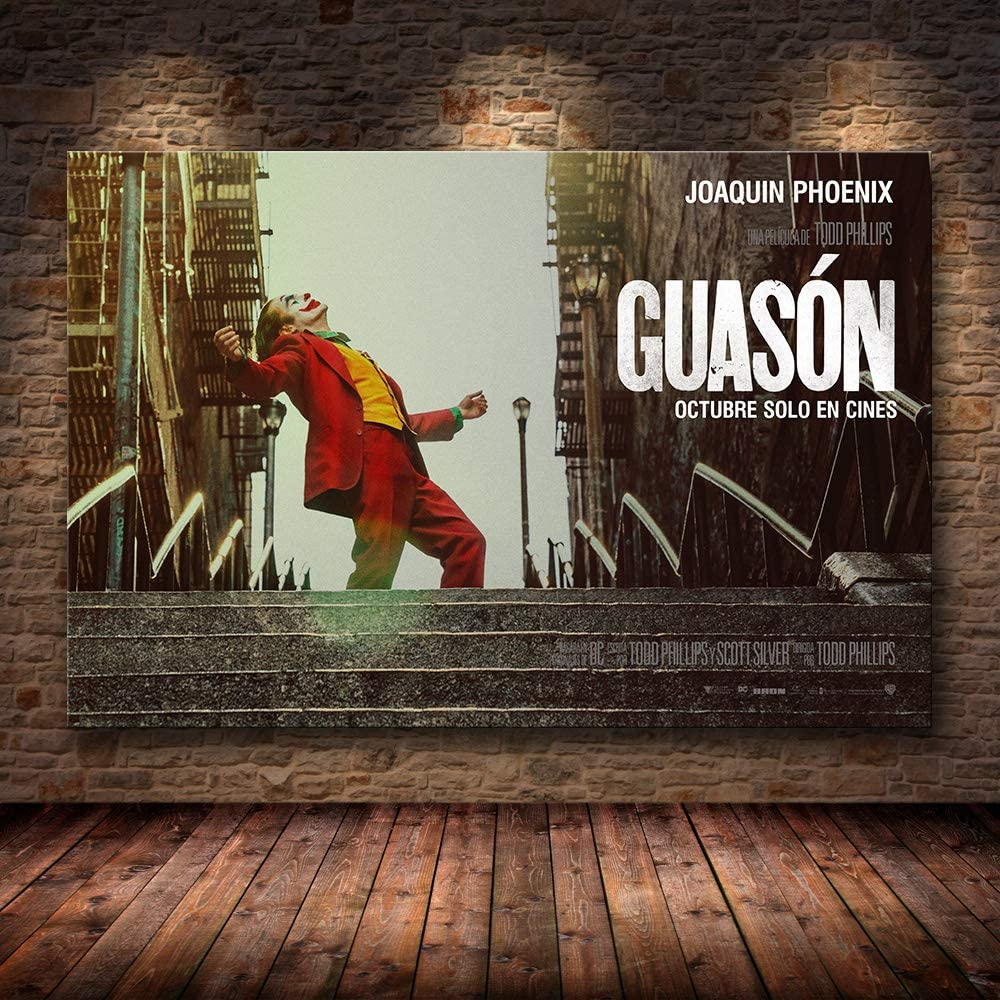 baodanla Joaquin Phoenix Poster Prints Joker Poster Movie Art Lienzo Pintura al óleo Cuadros de Pared para Sala de Estar Decoración para el hogar60x90cm(Sin Marco)