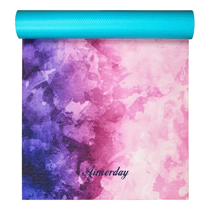 Amazon.com : AIMERDAY Yoga Mat Premium Print 72-inch Long 1/4-Inch Eco Friendly Non Slip Exercise & Fitness Mat, Home & Gym Workout Mat with Carrying Strap & Bag for All Types Yoga Class (Dreamy Purple) : Gateway