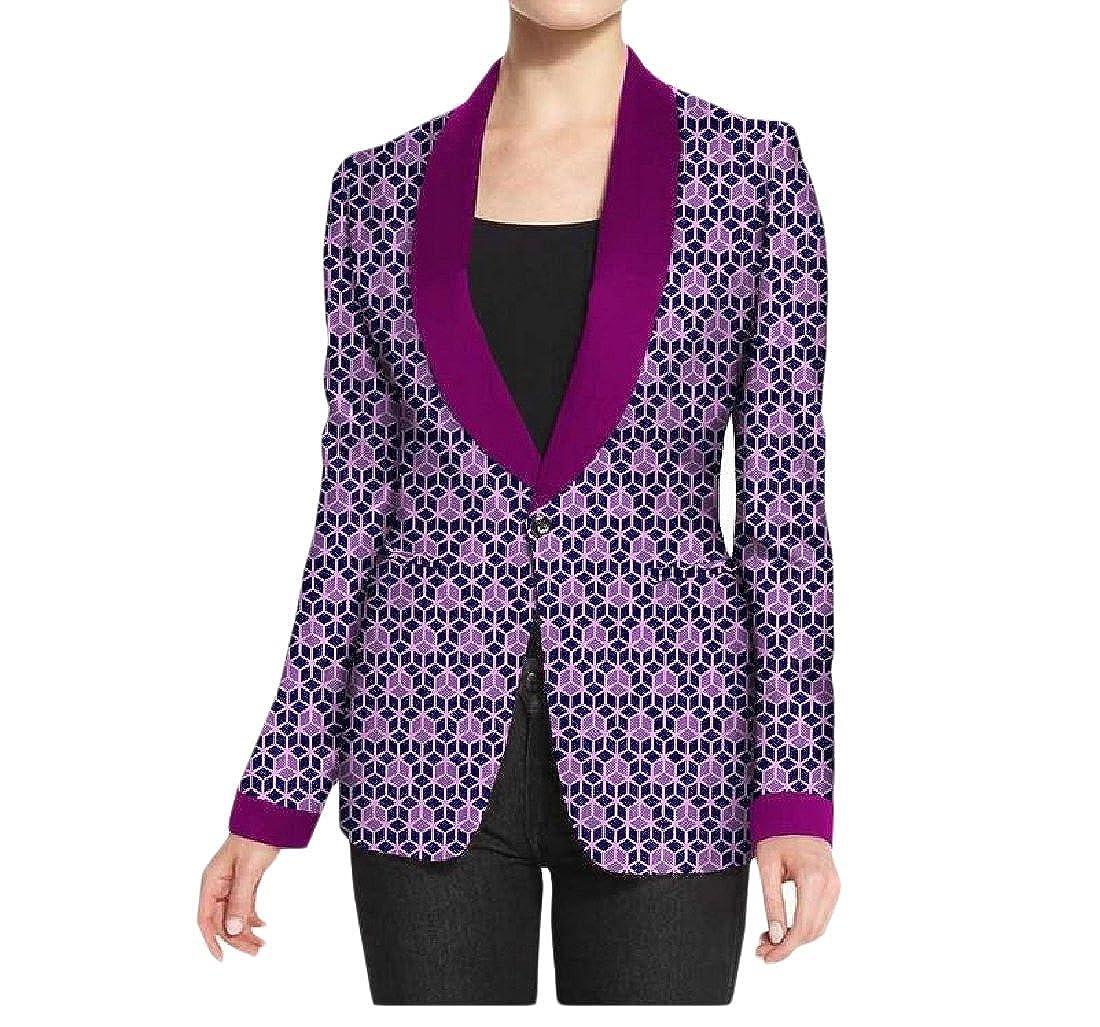 YUNY Womens African Print Dashiki 1 Button Slim Jackets Small Blazer 7 3XL