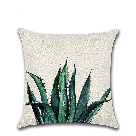 Nikgic Funda de Cojín Algodón y Lino Funda de Almohada Diseño de Plantas Tropicales Pillow Casos sofá Cámara Carlos Décor 45 x 45 cm, Mezcla de ...