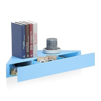 Montaggio Mensole A Muro.Relaxdays 10021886 45 Mensola Da Muro Angolare Ripiano Triangolare Cassetto Montaggio A Scomparsa Hxlxp 8x60x30 Cm Blu