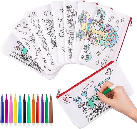 GWHOLE 8 piezas Estuches para Colorear con Rotuladores Lavable de 12 Colores, Estuches DIY para Niños Reultilizables: Amazon.es: Hogar