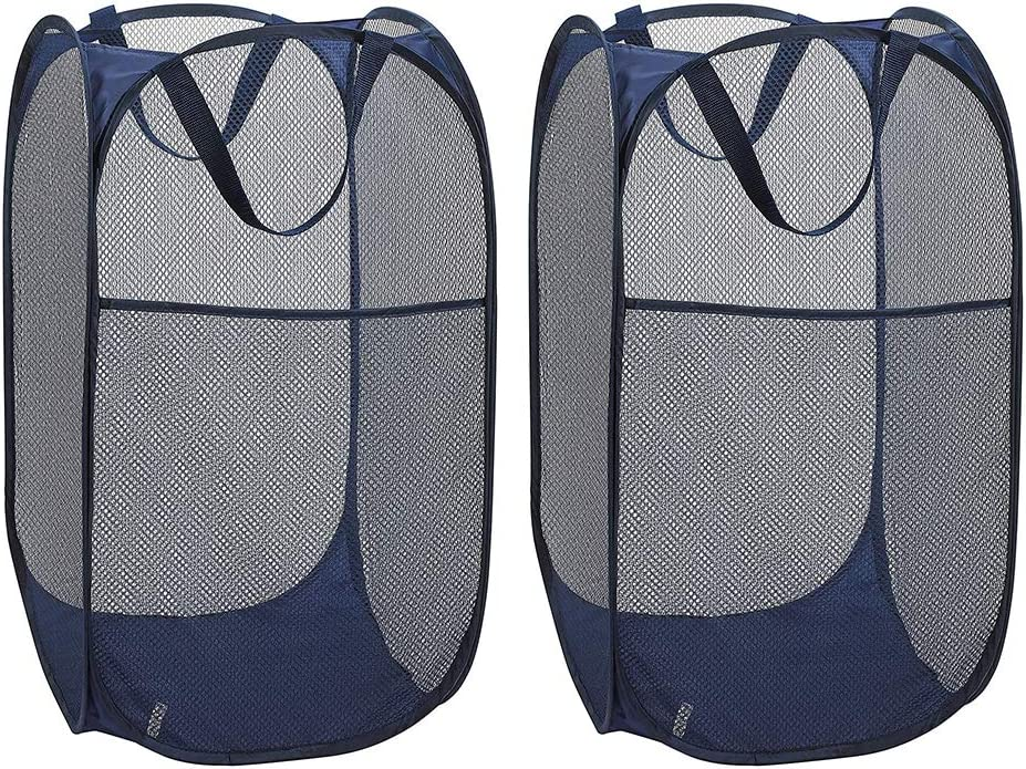 WD&CD 2PCS Laundry Baskets Foldable Pop Up Mesh Washing Laundry Basket Bag Bin Hamper Toy Tidy Storage Organiser Organizer(Dark Blue)