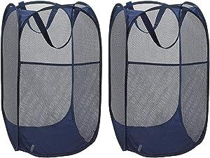 WD&CD 2PCS Laundry Baskets Foldable Pop Up Mesh Washing Laundry Basket Bag Bin Hamper Toy Tidy Storage Organiser Organizer(Dark Blue)