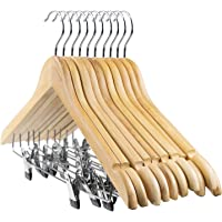 Tosnail 10-Pack Wooden Pant Hanger, Wooden Suit Hangers with Steel Clips and Hooks, Natural Wood Collection Skirt…