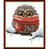 Maydear Full Range of Embroidery Starter Kits Stamped Cross Stitch Kits Beginners for DIY Embroidery - Owl with a Scarf