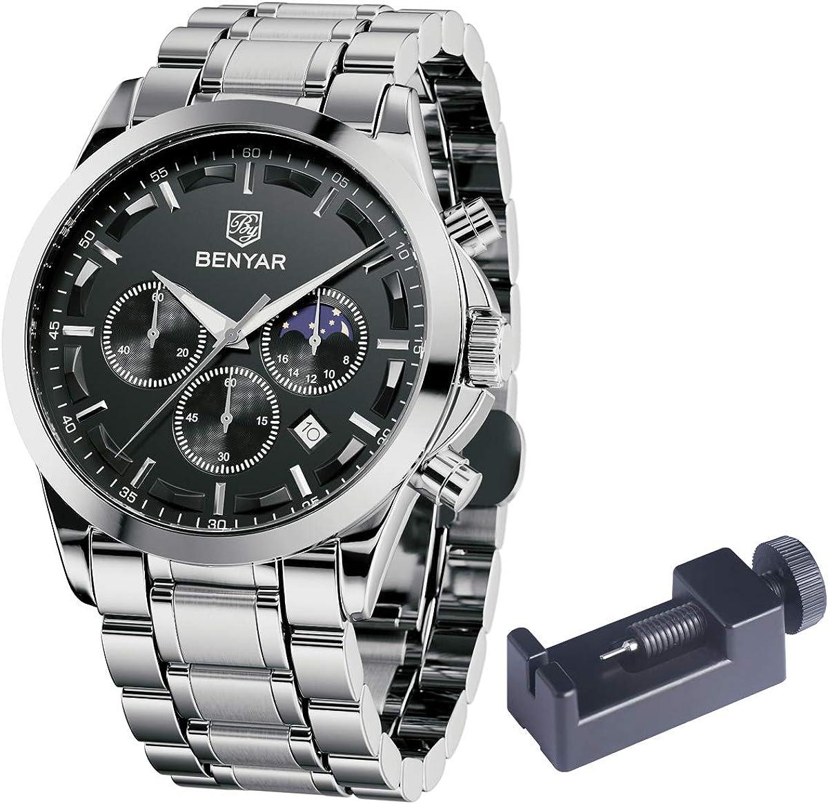 Relojes de Acero Inoxidable para Hombre BENYAR Cronografo Movimiento Cuarzo 3bar Impermeable Diseño Casual de Negocios Relojes de Pulsera Regalo Elegante