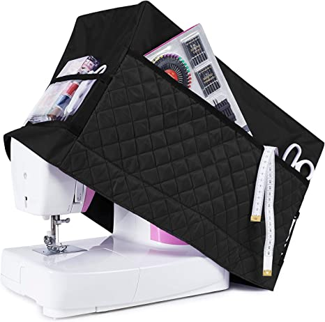 """Sewing Machine Dust Cover 17.5/""""L x 8/""""W x 13.5/""""H,Compatible with Most Standard Singer and Brother Machines Protective Sewing Machine Case with Spacious Accessory Storage Pocket"""