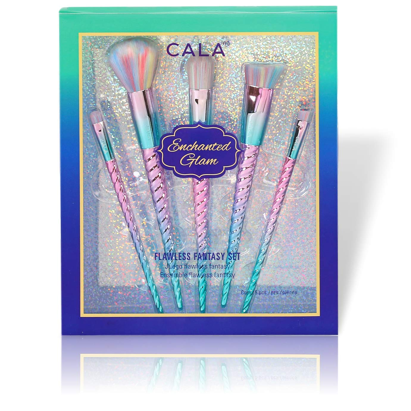 Premium Makeup Brush Set with Colorful Mermaid Design For Foundation, Eyeshadow, Blending & More