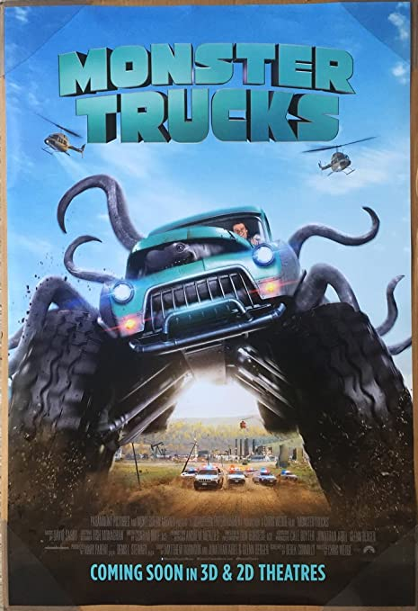 Amazon Com Monster Trucks Movie Poster 2 Sided Original Intl Final 27x40 Jane Levy Lucas Till Everything Else