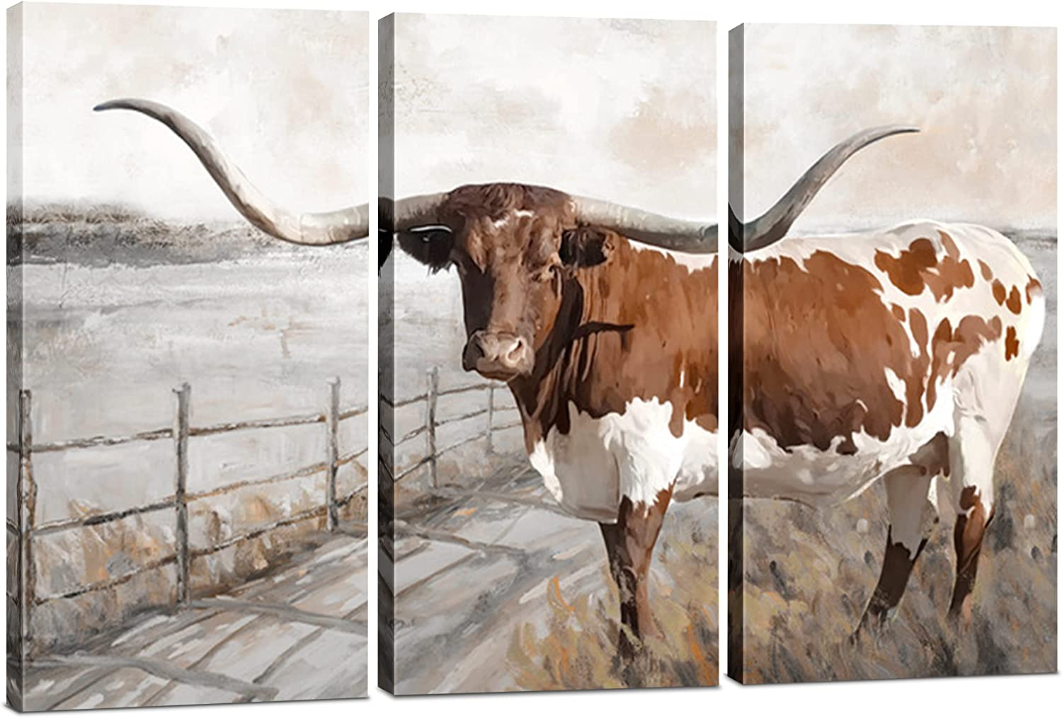 Longhorn Canvas Wall Art Decor - 3 Piece Set, Large Decorative Multi Panel Print - Highland Cow Art, Texas Western Theme for Living Room, Kitchen, Bedroom, Office & Home Decor Gift