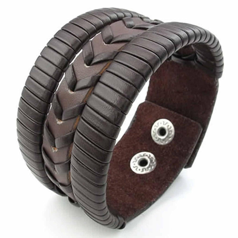 ANAZOZ Brown Mens Leather Cuff Bangle Bracelet Weave