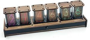NovelLife Vintage Digital Alarm Clock,6 Bit RGB LED Glow Time Display,DIY Nixie Tube Clock Simulation, PIR Motion Control,12 and 24 Hours Display,5V USB Powered,Wood Dock Elekstube Upgrade (Black)