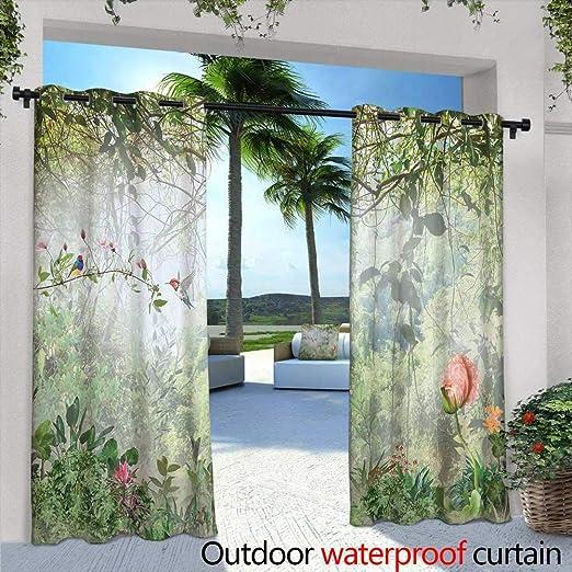 berrly Cortina de privacidad para balcón Exterior, Nueva York, Cortinas de jardín con Ojales: Amazon.es: Hogar