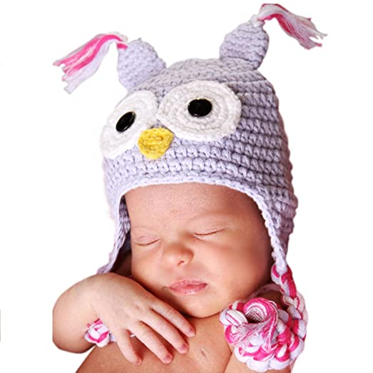 df037119a99 Melondipity Girls I m a Hoot Owl Baby Hat - Lavender Crochet Beanie with  Pink