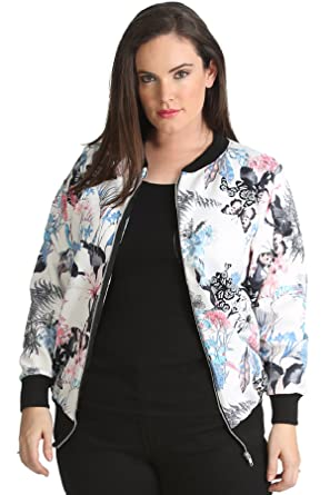 35dda25bf60bd Womens Plus Size Bomber Jacket Ladies Butterfly Floral Print Ribbed Long  Sleeves Casual