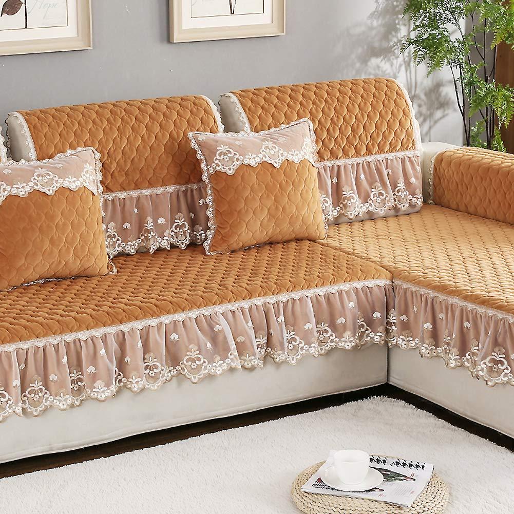 Amazon.com: SANDM Vintage lace Suede Couch Cover Plush Sofa ...